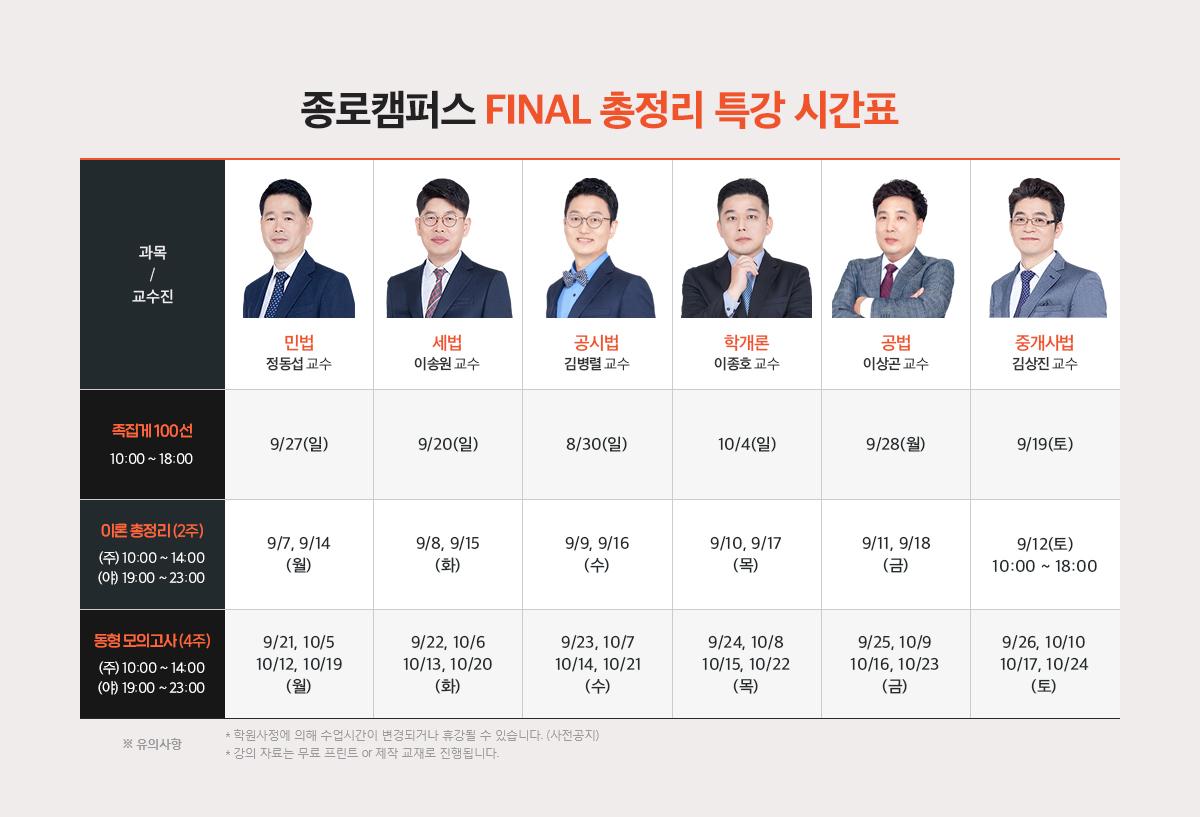종로캠퍼스 Final 총정리 특강 시간표