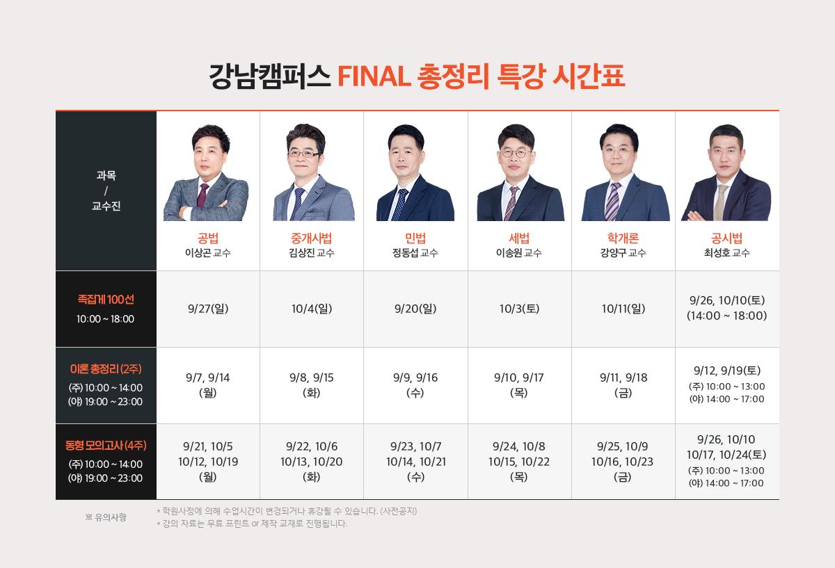 강남캠퍼스 Final 총정리 특강 시간표