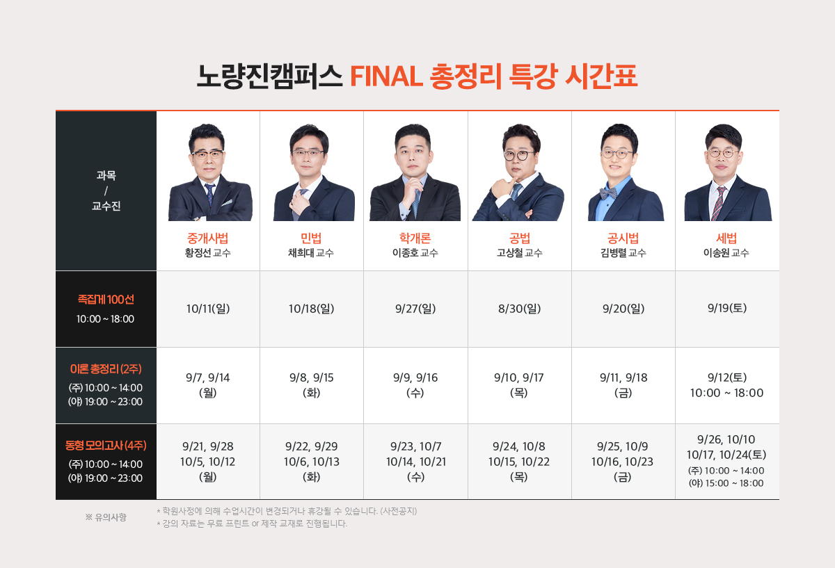 노량진캠퍼스 Final 총정리 특강 시간표