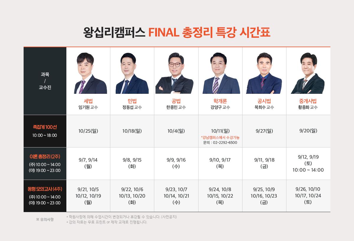 왕십리캠퍼스 Final 총정리 특강 시간표