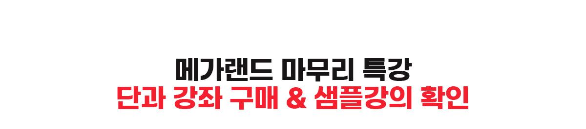 메가랜드 마무리 특강 단과 강좌 구매 & 샘플강의 확인